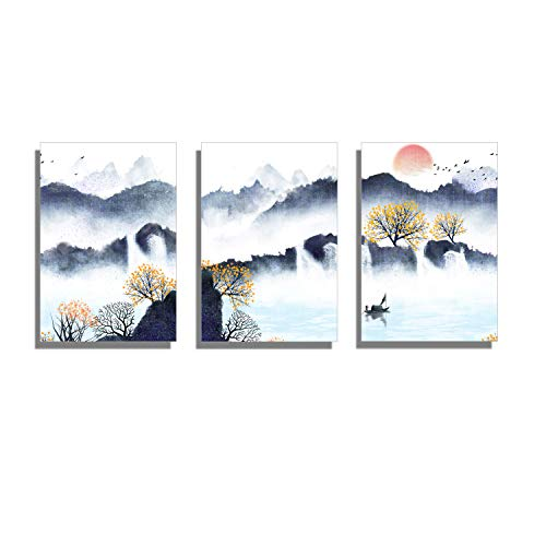 Blue Abstract Mountains Canvas Wall Art for Living Room Modern Watercolor Print Poster Picture Artworks For Bedroom Bathroom Kitchen Wall Decor Framed Ready to Hang 12x16 inch 3 piece