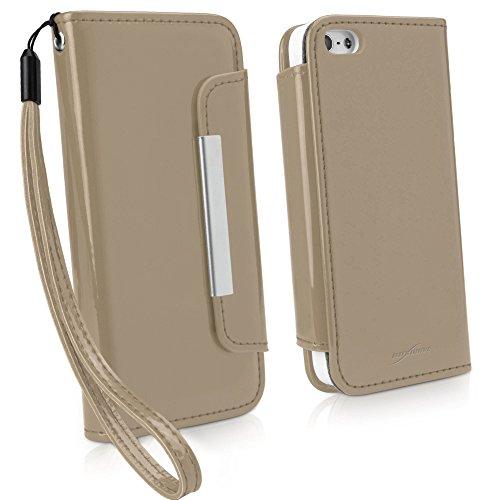 BoxWave Patent Lederen Koppeling iPhone 5 Hoesje - Patent Vegan Lederen Fashion Portemonnee Hoesje met Afneembare Hand Band Polsband en Card Slot Houder - iPhone 5 Hoesjes en Hoezen (Sandsteen)