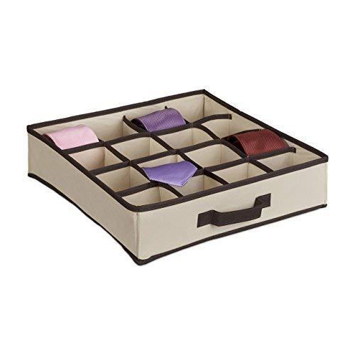 Relaxdays Schubladenorganizer, Faltbar, Für Krawatten, Socken, Unterwäsche, etc., HBT: ca. 10 x 36,5 x 36,5 cm, beige