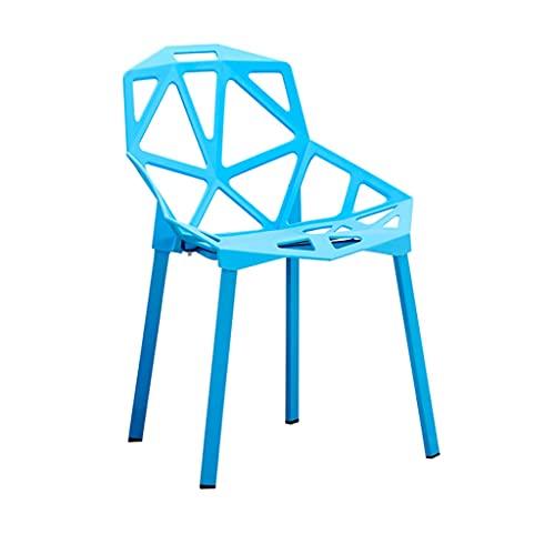 LICHUAN Sedia da pranzo geometrica vuota, creativa, moderna e minimalista, in plastica, con schienale e piedini antiscivolo, sedia da pranzo per cucina, sala da pranzo e sala da pranzo (colore: blu)