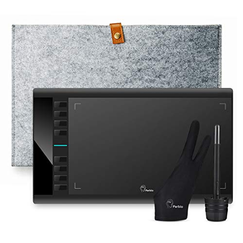 Parblo Grafiktablett 10 x 6 Zoll A610 V2, Mobile Zeichentabletts mit 8192 Stufen Batteriefreies Stifttablett - 8 Hotkeys mit Filzbeutel und Handschuh für Home-Office & E-Learning