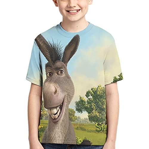 Teenager Soft Shirt Bequemes Polyester Donkey Shrek The Final Chapter Kinder T-Shirt Rundhalsausschnitt Classic Teens Kurzarm T-Shirt für Jungen und Mädchen