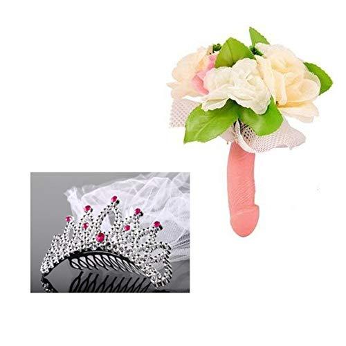 Dream' s Party Bouquet Sposa con Manico Pene e Fiori + Tiara Velo Nuziale per Addio al Nubilato - Gadget Idea scherzi Regalo di Matrimonio