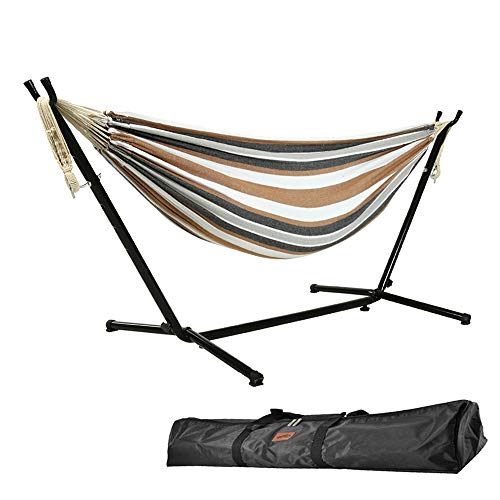 Goutime 9Ft Double Hammock with Detachable Stand,450 lbs Capacity, Includes Portable Carrying Bag Perfect for Indoor Outdoor Patio, Deck, Yard,Balcony (Brown&White)