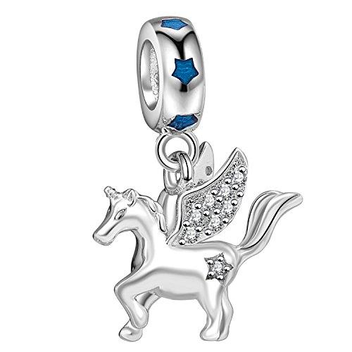 Unicornio con alas encanto auténtico 925plata de ley Pegasus colgante volar caballo Animal Bead encanto para pulsera Europea