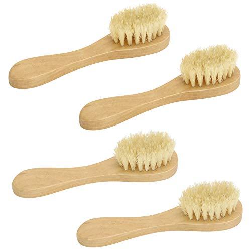 Simple Pampering Cleansing Exfoliating Wood Handle Facial Brush, 4-Pack