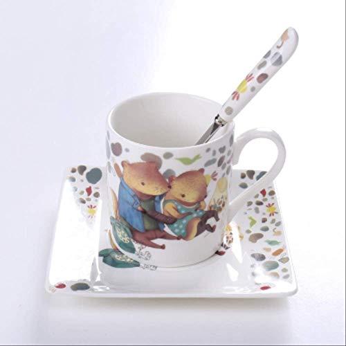 Italien Design Feine Knochen China Herbst Geschichte Süße Tierliebhaber Kaffee Tasse Teller Anime Becher Anzug Teetasse Untertasse Platz Tablett Geschenk-box 200ml 3
