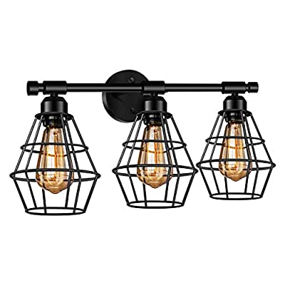 3-Light Industrial Bathroom Vanity Light Farmhouse Style Metal Cage Vintage Vanity Wall Sconce Lighting E26 Base Black Rustic Wall Light Fixture for Bathroom Vanity Mirror Cabinets Dressing Table