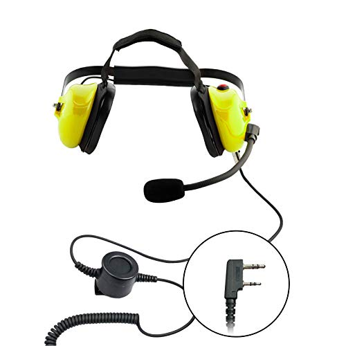 Best Prices! Noise Cancelling Two-Way Radio Over Ear Yellow Raceway Headset for Kenwood 2-Pin Baofen...