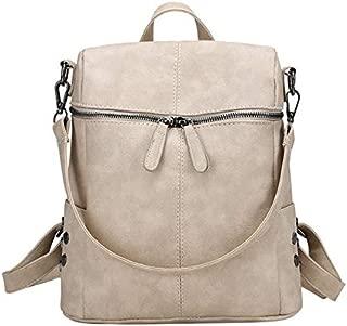 ZPFHB New Fashionable School Bag Casual High Capacity Shoulder Bags Vintage Women's Nobuco Leather Backpack Pu School Backpacks for Teenage GirlsBeige