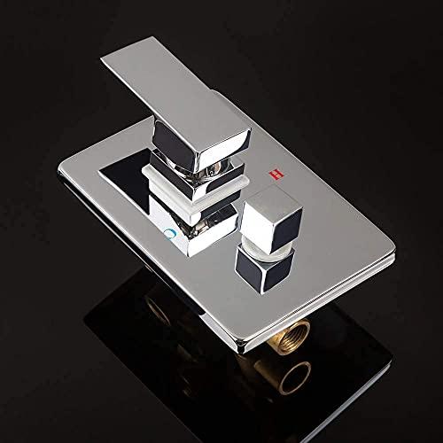 Grifo G1 / 2 grifo de ducha de cobre oculto montado en la pared 1/2/3 desviador para taza de baño, cartucho de tinta de cerámica, doble manija