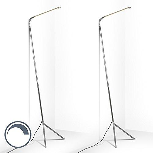 QAZQA Set van 2 design vloerlamp chroom incl. LED - Lazy Lamp Metaal Langwerpig Geschikt voor LED Max. 2 x 12 Watt