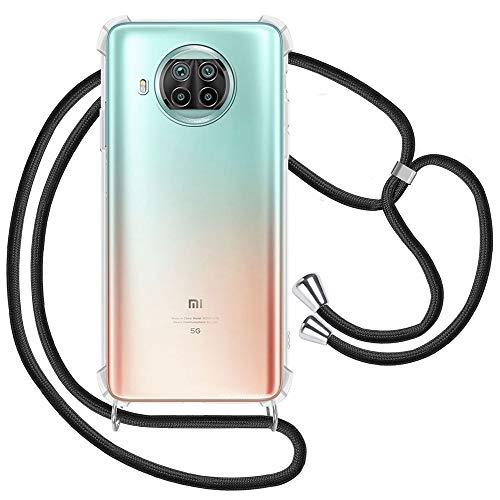 Handykette kompatibel mit Xiaomi Mi 10T Lite Hülle, Smartphone Necklace Handyhülle mit Band Transparent Schutzhülle Stossfest - Schnur mit Hülle zum Umhängen in Schwarz