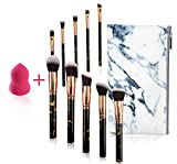 FORLADY Brochas Maquillaje 10 Piezas Set Foundation Brush Blending Face Powder Blush Set de Brochas de Maquillaje Profesiona con Esponja Maquillaje Bolsa PU (Mármol Negro)