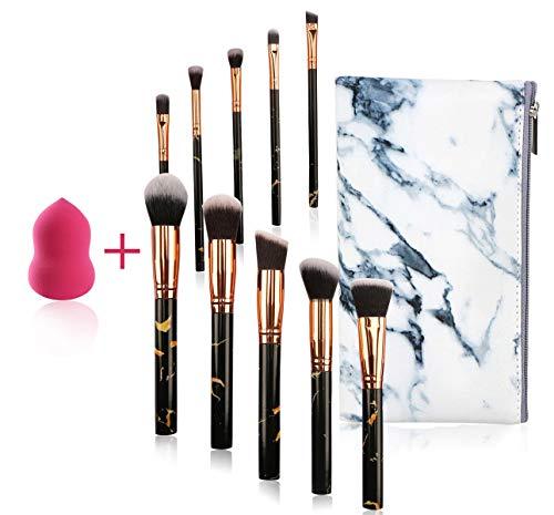 FORLADY Pinceaux de Maquillage 10 PCS Blush Fondation Pinceau Eye Visage Liquide Poudre crème Cosmétique Pinceaux avec Blender épongeet Un Sac à Cosmétiques(Marbre Noir)