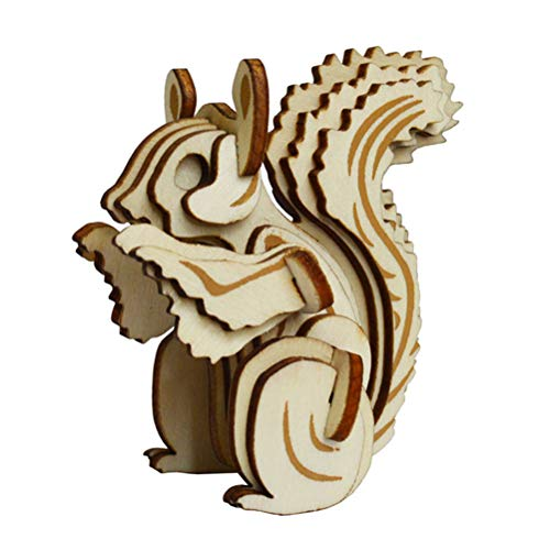 Creacom Squirrel 3D Woodcraft Construction Kit, Squirrel 3D Wooden Puzzle Model Woodcraft Construction Kit Jigsaw Woodcraft Toy