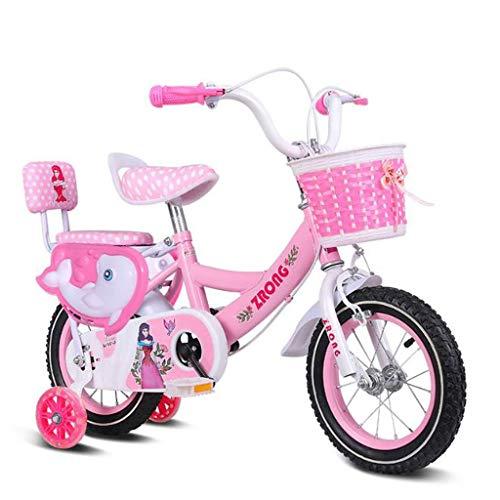 """K-G Bambini Bicicletta Bambino Bike in Formato 12"""" 14"""" 16"""" 18"""" in Acciaio al Carbonio del Bambino della Bicicletta a 3-8 Anni con Ruota di Formazione Doppio Freno (Color : Pink, Size : 18 inch)"""