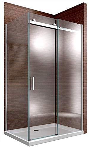 Duschabtrennung EX806-Kombi Dusche Schiebetür Dusche 8mm ESG-Glas NANO, Montage:Einbau Rechts, Maße Duschkabine:120x90cm