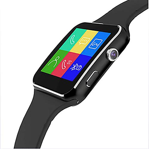 ZUEN Gekrümmter Bildschirm Smart Watch 1.54 Inch Narrow Side Screen 2.5D Curved TP Silikon Strap Smart Card Internet Bluetooth Kamera Phone Watch,Black