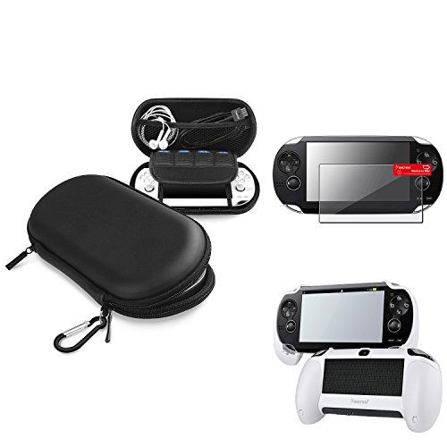 Insten Black EVA Case Cover + White Hand Grip + Clear Screen Protector Compatible With Sony PS Vita PSV