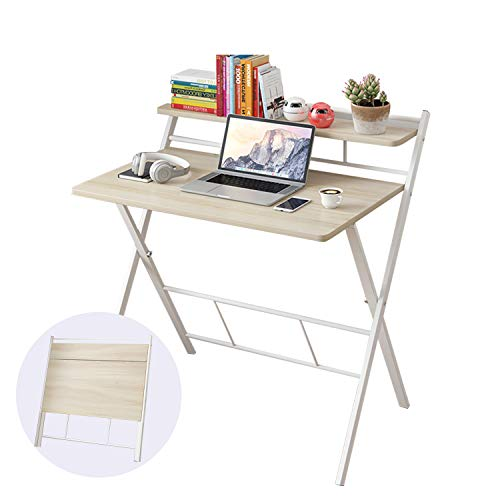 2020 Folding Study Desk Folding Laptop Table Home Corner Desks Simple Computer Desk with Shelf for Small Space Home Office (White)