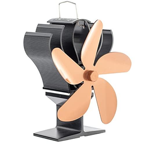 AIAIHU SF601S - Ventilador de estufa para chimenea (5 cuchillas, quemador de leña), color negro