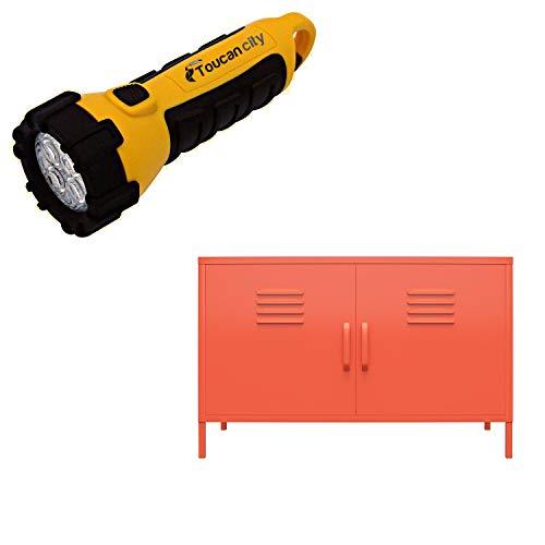 Toucan City LED Flashlight and Novogratz Cache Orange 2-Door Metal Locker Accent Cabinet 4012813COM