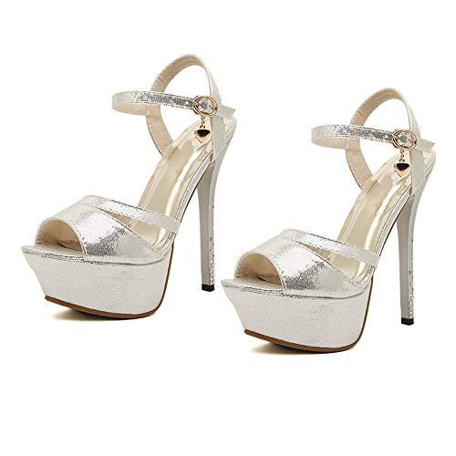Sandalias de tacón alto súper fino de 14.5 cm Sandalias de boca de pescado para mujer con hebilla Plataforma impermeable Zapatos de corte sexy para discoteca Bombas Verano