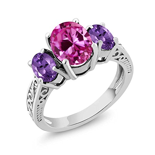 Gem Stone King 925 Sterling Silver Pink Created Sapphire and Purple Amethyst 3-Stone Women's Ring (3.30 Ct) (Size 7)