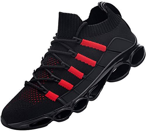 DYKHMILY Sicherheitsschuhe Herren Arbeitsschuhe mit Stahlkappe sportlich Schuhe Leichte Atmungsaktiv(Schwarz Rot,43)