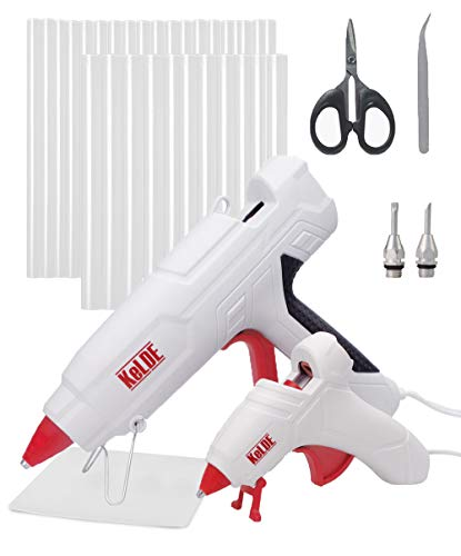 57-Piece Hot Glue Gun Kit, KeLDE 100W Full Size Heavy Duty Glue Gun, Bonus 10 Watts Mini Glue Gun, Includes 2 pcs Extra Fine Tips, 50 pcs Glue Sticks for DIY, Craft Projects & Repair
