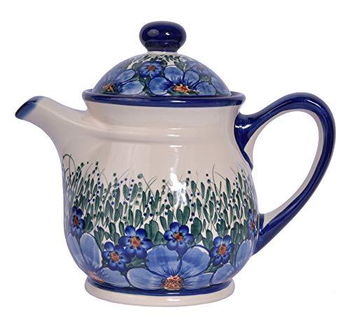 Traditionelle polnische Keramik Teekanne für 9 Tassen mit Deckel (1500 ml) im Boleslawiec-Stil Muster H.601 Credo Collection