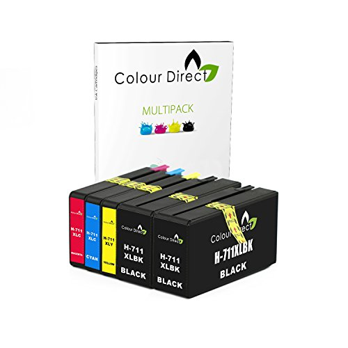 Colour Direct HP 711 711XL Cartuchos de Tinta compatibles de Repuesto para impresoras Designjet T120, T520 (CZ129A CZ130A CZ131A CZ132A) - Paquete de 5