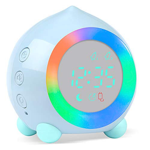 PROKING Reloj Despertador Infantil Digital, Despertador Digital Simulador de Amanecer Despertador para Niñas Niños con Luces Colores y Lámpara de Luz Nocturna Despertador Silencioso (Azul)