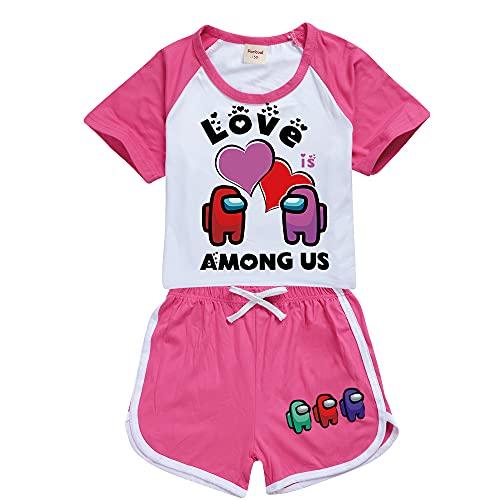 Forlcool Among Us Bella Tuta Sportiva Unisex per Bambini Short & Top Imposta Maglietta E Pantaloncini A Maniche Corte (Rose Red,10-11 Anni)