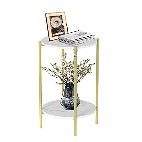 Ukmaster 2-poziomowy marmurowy stolik kawowy minimalistyczny styl nordycki biały eleganckie okrągłe stoły stolik herbaciany wytrzymały złoty metalowy stelaż narożny stół sypialnia stolik nocny