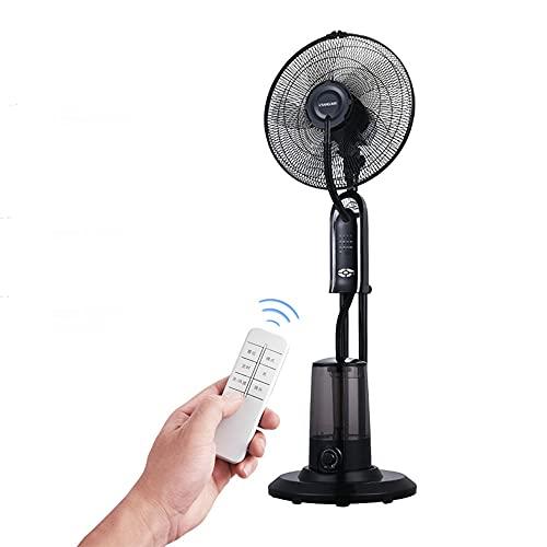 FUFU Climatizadores evaporativos 4 en 1 Humidificador de niebla, ventilador de pedestal, ventilador de pedestal con control remoto, 5 cuchillas-3 Fan de soporte de nivel de velocidad - 180 ° Fan Oscil