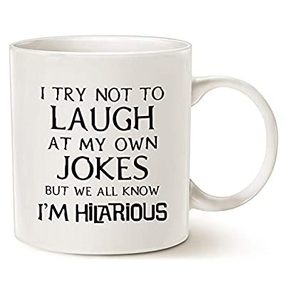 This Might be Wine Funny Saying Coffee Mug, I Try Not to Laugh At My Own Jokes But We All Know I'm Hilarious Unique Holiday Or Birthday Gifts Porcelain Cup White, 11 Oz from Christmas Gifts Funny Coffee Mug