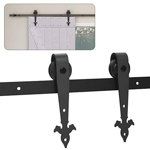Schiebetürbeschlag 6FT/(183cm) Schiebetürsystem Schiebetür Schiene Set Passend für Einzel Holztür, Ankerstil