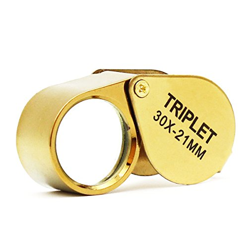 Jeweler Pocket Loupe Magnifier, 30X Glass Lens Magnifying Glass for Jewelry, Coins, Stamps,Antiques and More (Golden)