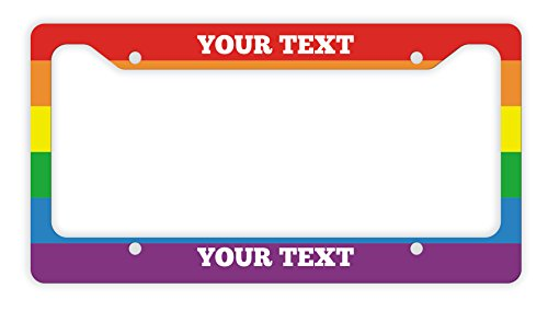 ThisWear Rainbow License Plate Frame Gay Pride Rainbow Gay Lesbian Novelty License Plate Frame Rainbow