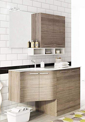 Dafne Italian Design Mueble de lavandería para lavadora, secadora y carritos de lavandería, color roble oscuro y blanco – Medidas: 131 x 35/62 cm, lavabo de Ocritech con bañera integrada