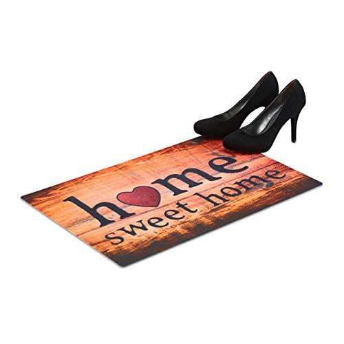 Relaxdays Fußmatte Home Sweet Home, flacher Fußabtreter 60x40 cm, rutschfester Vorleger für Indoor und Outdoor, bunt