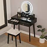 Riforla Vanity Set with Touch Screen Dimming Mirror, 3 Color Lighting Modes, Dressing Table with 4 Sliding Drawers, Modern Bedroom Makeup Table and Cushioned Stool Set for Women Girls (Black)