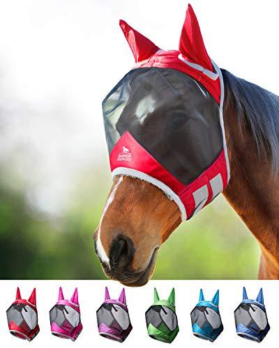 Harrison Howard CareMaster PRO Luminous Maschera Anti-Mosche per Cavallo UV Protezione con para Orecchie Rosso (L; Full Size)