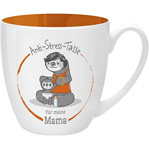 Gruss & Co 45503 Anti-Stress Tasse für Mama, 45 cl, Geschenk, New Bone China, Orange, 9.5 cm