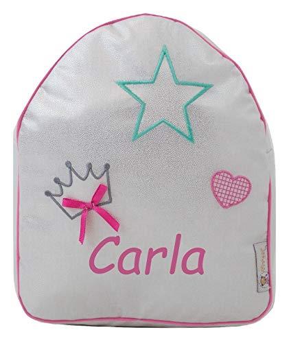 Mochila o Bolsa Infantil Personalizada con Nombre en plastificado. Modelo Shiny Queen (Brillo Plata)