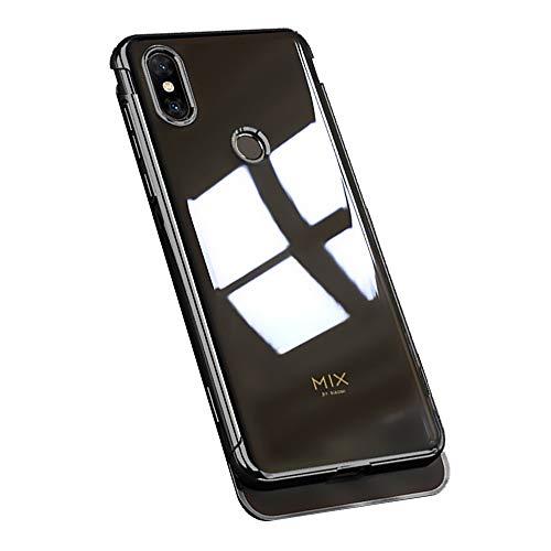 Pacyer Carcasa compatible con Xiaomi Mi Mix 3, transparente, chapado en silicona, funda ultra fina, protección completa, resistente, flexible, de TPU (poliuretano termoplástico) Negro Medium