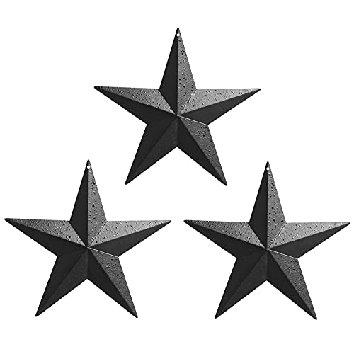 Barn Star - Metal Star Texas Star Retro Western Country Family Farmhouse Wall Decoration 8 inch (3 pieces)(Black rough)