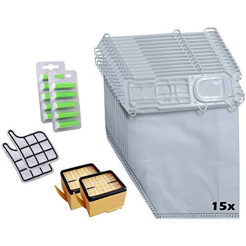 Juego de 15 bolsas de microfieltro para aspiradoras Vorwerk Kobold 135, 135, 135SC, 2 filtros HEPA + 2 filtros de protección del motor + 10 desodorante de aspiradora verde – 5 capas de fieltro.
